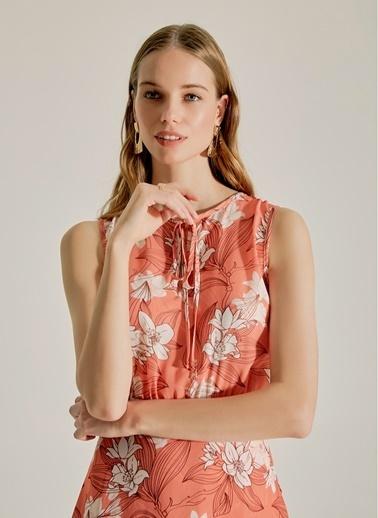 NGSTYLE Çiçek Desenli Midi Elbise Somon